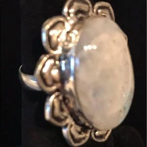 Moonstone flower ring